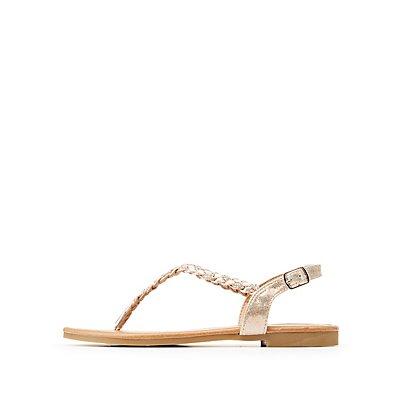 Metallic Braided T-Strap Sandals