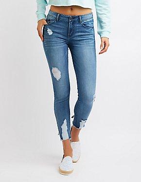Refuge Destroyed Lace-Back Skinny Jeans