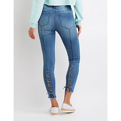 Refuge Destroyed Lace-Back Skinny Jeans