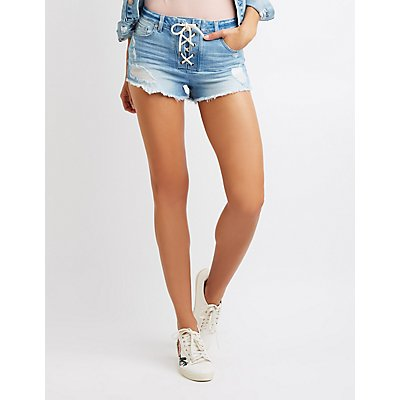 Refuge Destroyed Lace Up Cheeky Shorts