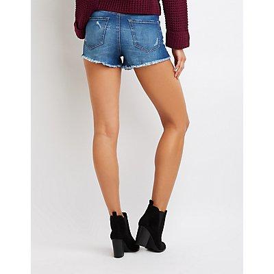 Refuge Destroyed Hi-Rise Denim Shorts
