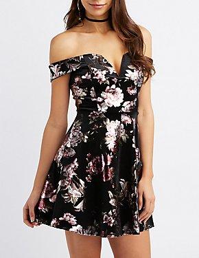Floral Velvet Off-The-Shoulder Skater Dress