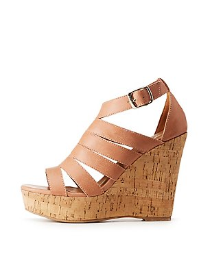 Faux Leather Strappy Wedge Sandals