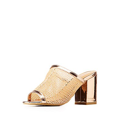 Bamboo Glittered Fishnet Mules
