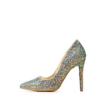 Glitter Pointed Toe Pumps