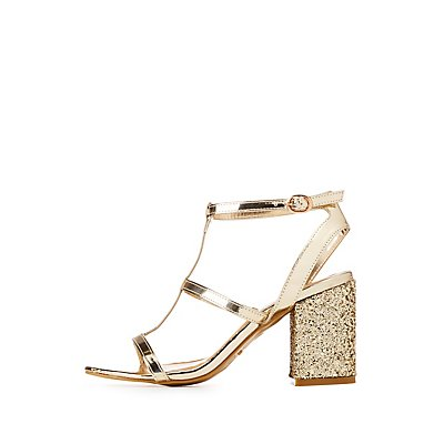 Caged Sequin Block Heel Sandals