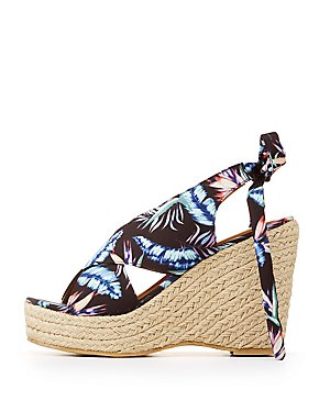 Tropical Print Crisscross Tie-Back Wedge Sandals