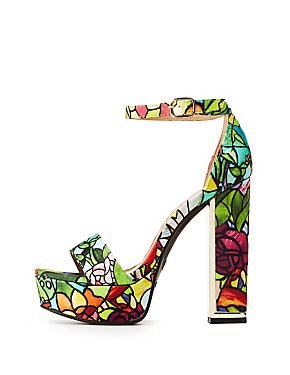 Bamboo Floral Two-Piece Platform Sandals
