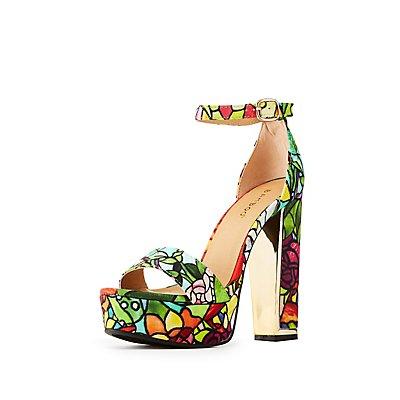 Bamboo Floral Ankle Strap Platform Sandals