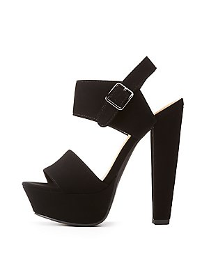 Fuax Suede Two-Piece Platform Sandals