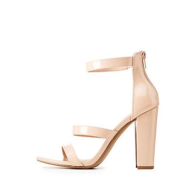 Faux Patent Leather Ankle Strap Sandals