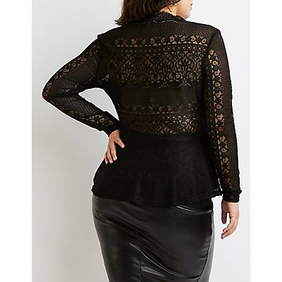 Plus Size Lace Peplum Top