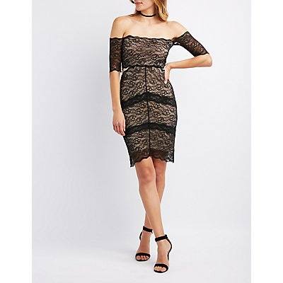 Lace Mesh Bodycon Dress