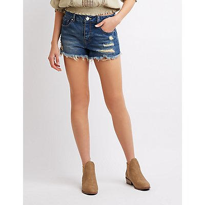 Refuge Destroyed Hi-Rise Cheeky Denim Shorts
