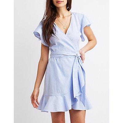 Striped Ruffle-Trim Wrap Dress