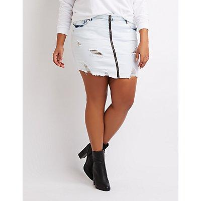 Plus Size Zip-Up Destroyed Denim Mini Skirt