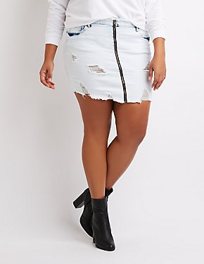 Plus Size Zip-Up Destroyed Denim Mini Skirt