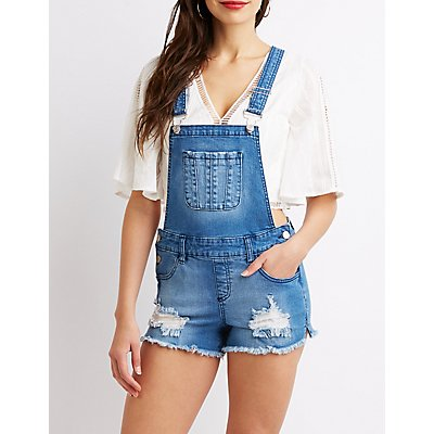 Refuge Frayed Hem Denim Shortalls