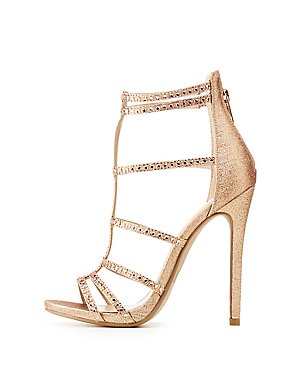 Crystal Embellished Caged Dress Sandals