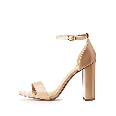 Patent Faux Leather Ankle Strap Sandals