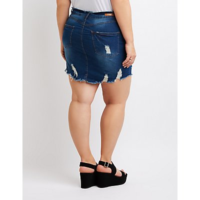 Plus Size Dollhouse Zipper-Detailed Destroyed Denim Skirt
