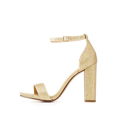 Glitter Ankle Strap Block Sandals