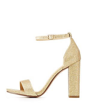 Glitter Two-Piece Block Sandals