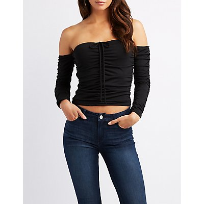Ruched Mesh Off-The-Shoulder Top