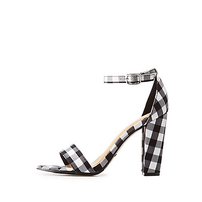 Bamboo Gingham Ankle Strap Sandals