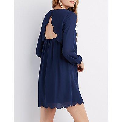 Scallop-Trim Open-Back Shift Dress