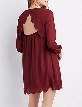 Scallop-Trim Open-Back Shift Dress