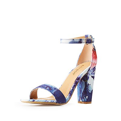 Floral Printed Ankle Strap Sandals