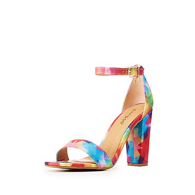 Abstract Print Ankle Strap Sandals