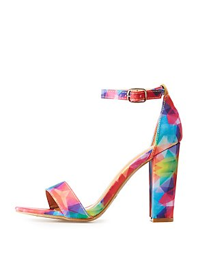 Abstract Printed Two-Piece Sandals