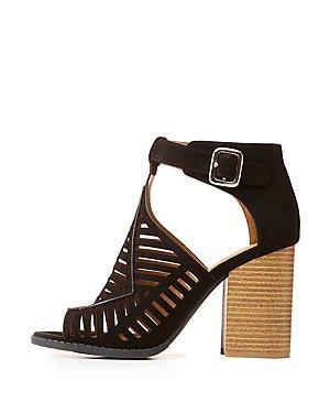 Laser Cut Block Heel Sandals
