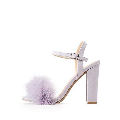 Feather-Trim Ankle Wrap Sandals