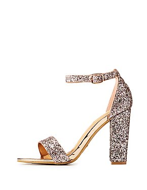 Bamboo Glitter Two-Piece Block Sandals