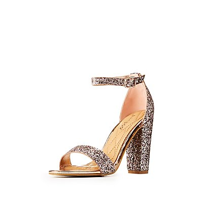 Bamboo Glitter Ankle Strap Block Sandals