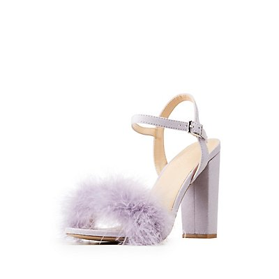 Wide Width Feather Trim Sandals