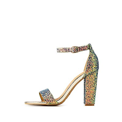 Bamboo Glitter Ankle Strap Sandals