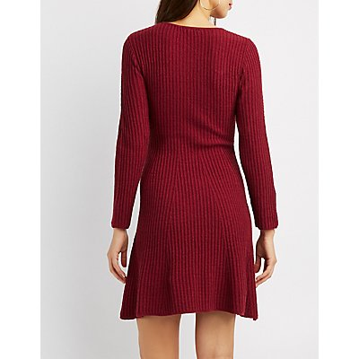 Ribbed Knit Skater Sweater Dress
