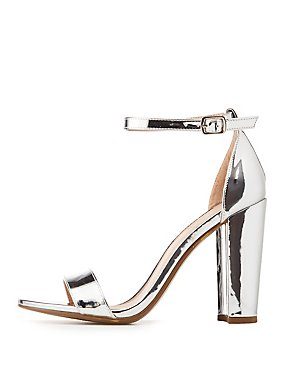Metallic Ankle Strap Sandals