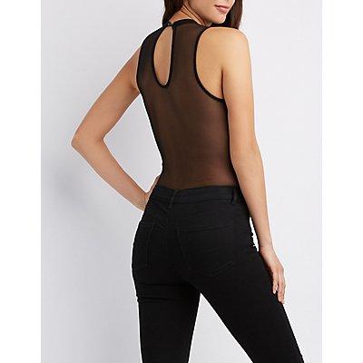 Mock Neck Mesh-Back Bodysuit