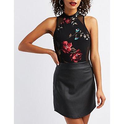 Floral Mesh-Back Bodysuit