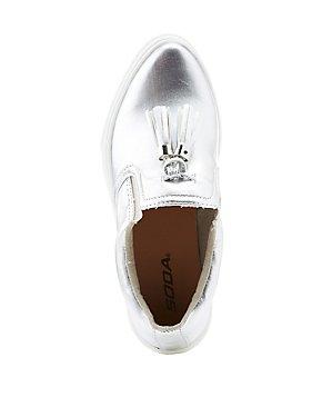 Metallic Tassel-Trim Slip-On Sneakers