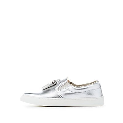 Metallic Tassel-Trim Slip-On Sneakers