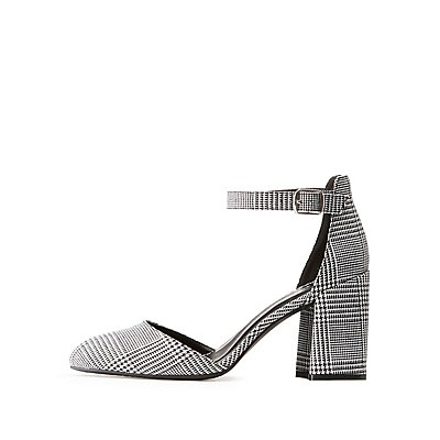 Qupid Gingham Ankle Strap Pumps