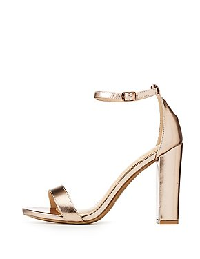 Wide Width Metallic Ankle Strap Sandals