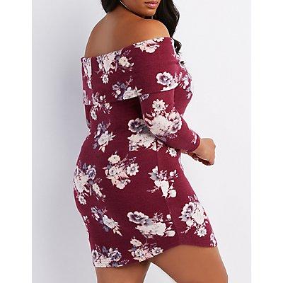 Plus Size Floral Hacci Off-The-Shoulder Dress
