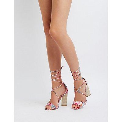 Floral Lace Up Sandals